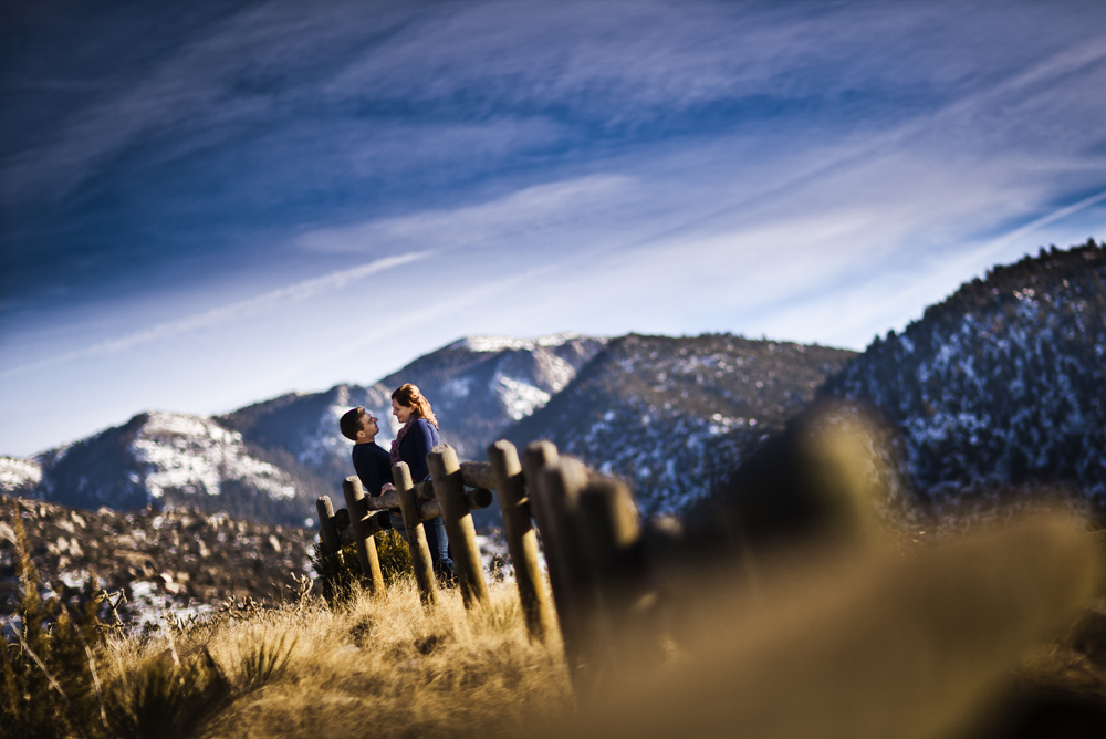 An artistic mountain view at Michael & Jessica's engagement shoot