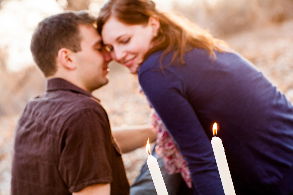 Candles make for a romantic engagement session