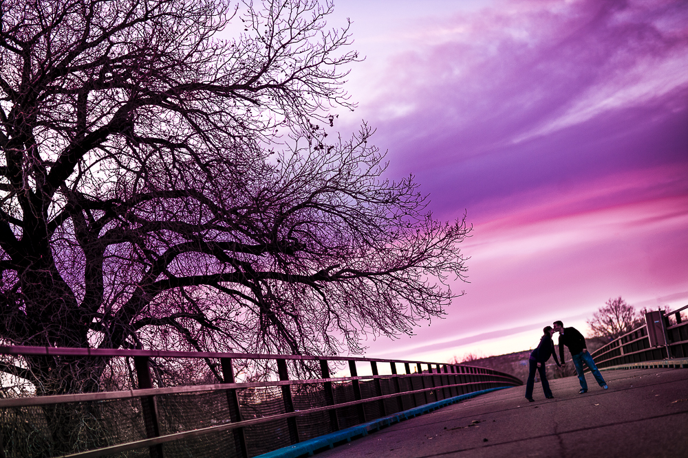 A stunning sunset of purple and pink for Michael & Jessica's Engagement Sesson