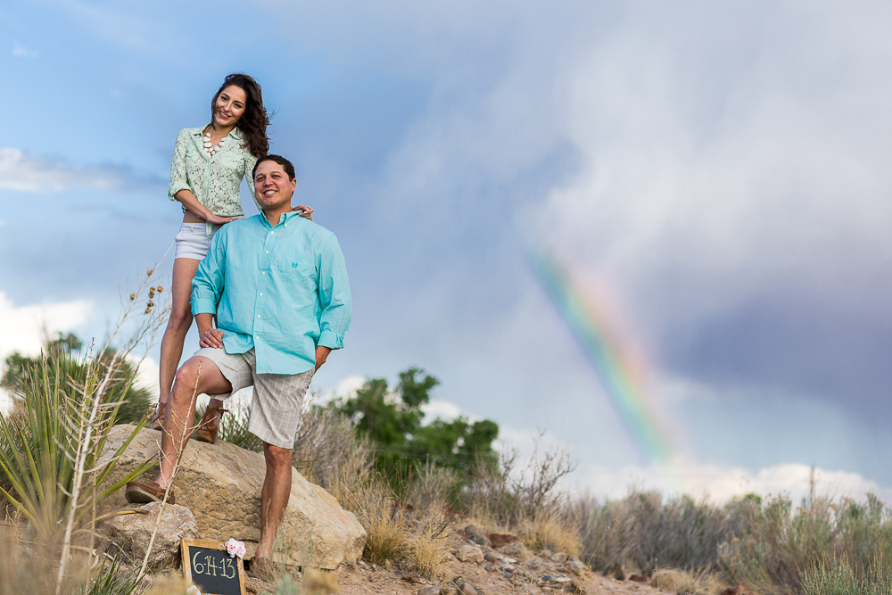 A beautiful rainbow for this engagement photo in Albuquerque, NM