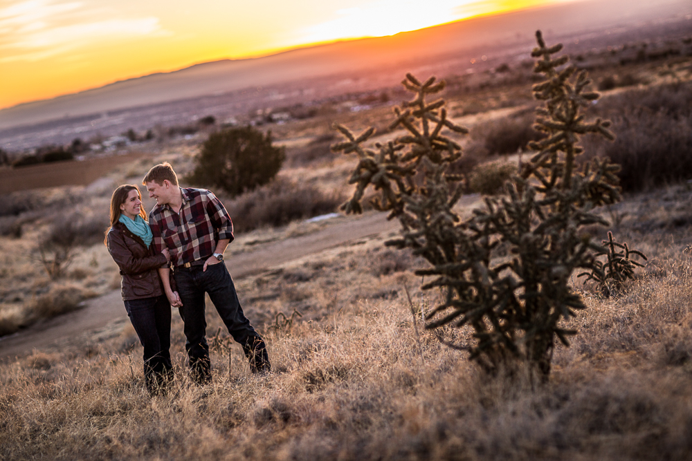 Cool yellow sunset engagement photo