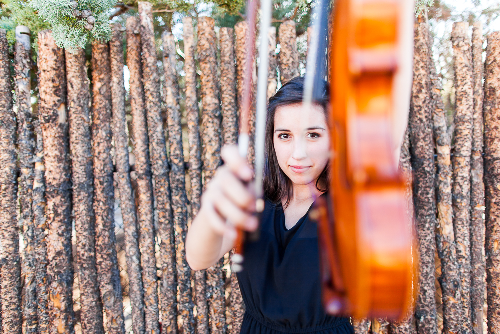 Rachael's senior photo with her violin