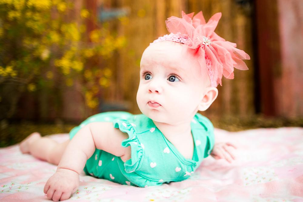 Green, polka dots, baby girl, newborn