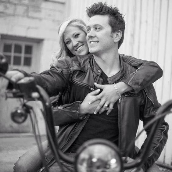 These guys probably love taking the motorcycle out on warm days. Bring in anything that speaks to your relationship and what you love to do together! - Pinterest