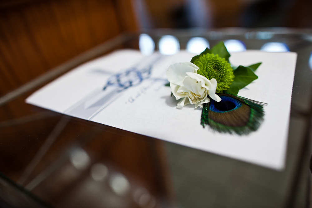 Lots of peacock details for this wedding