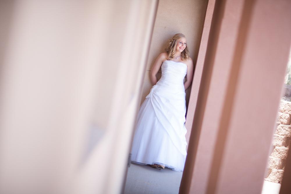 Ginger, the bride, pre-ceremony