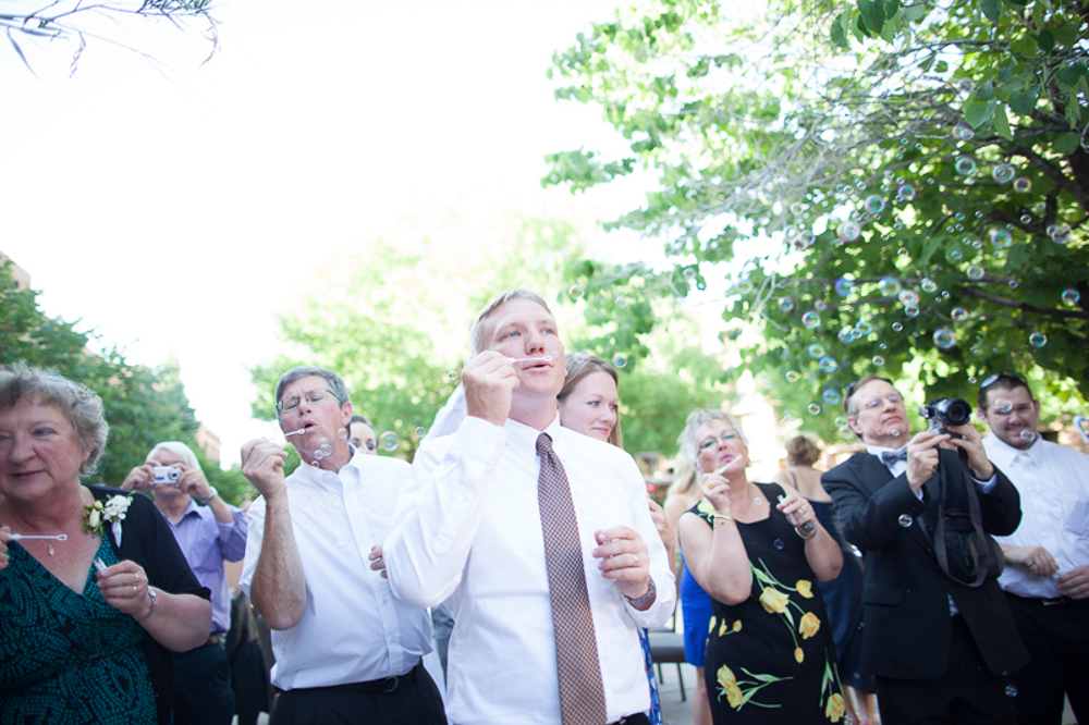Bubbles at the wedding reception