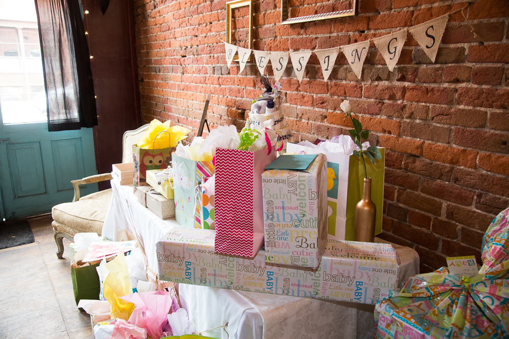 The baby shower gift table