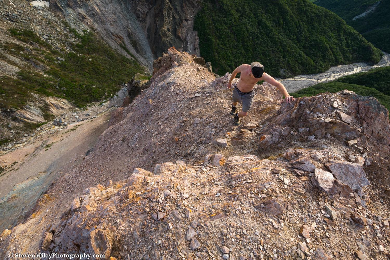 Climbing a steep ridge above Whistler Creek.