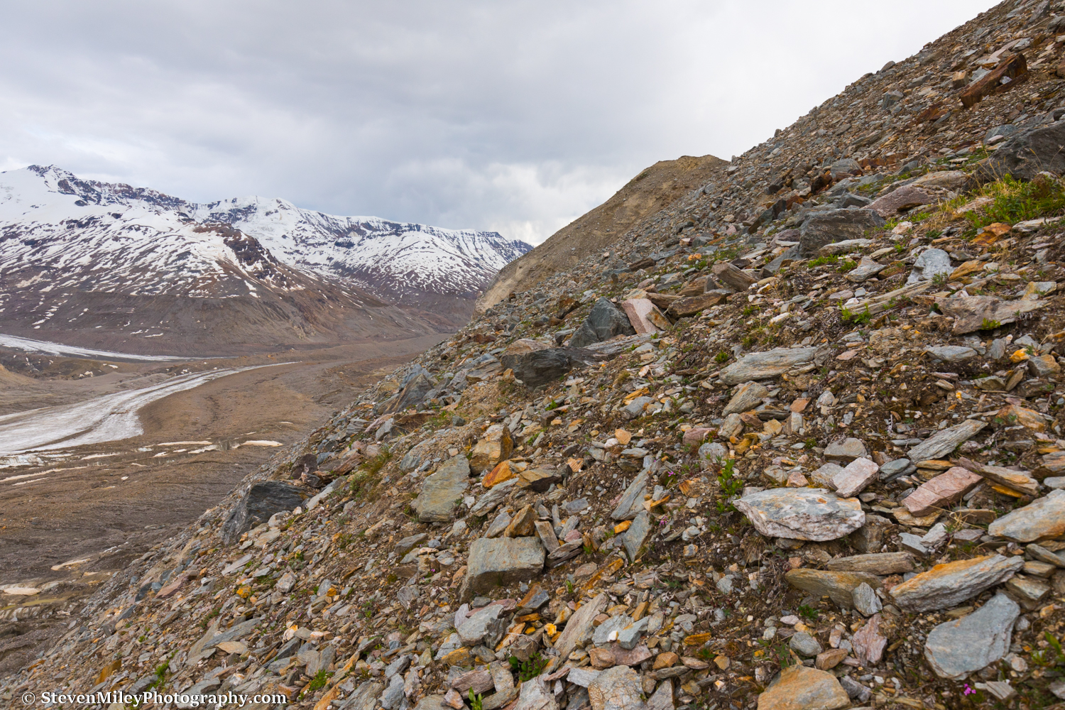 """The view climbing up """"the easy way"""" to the Thayer Hut from Castner Glacier."""