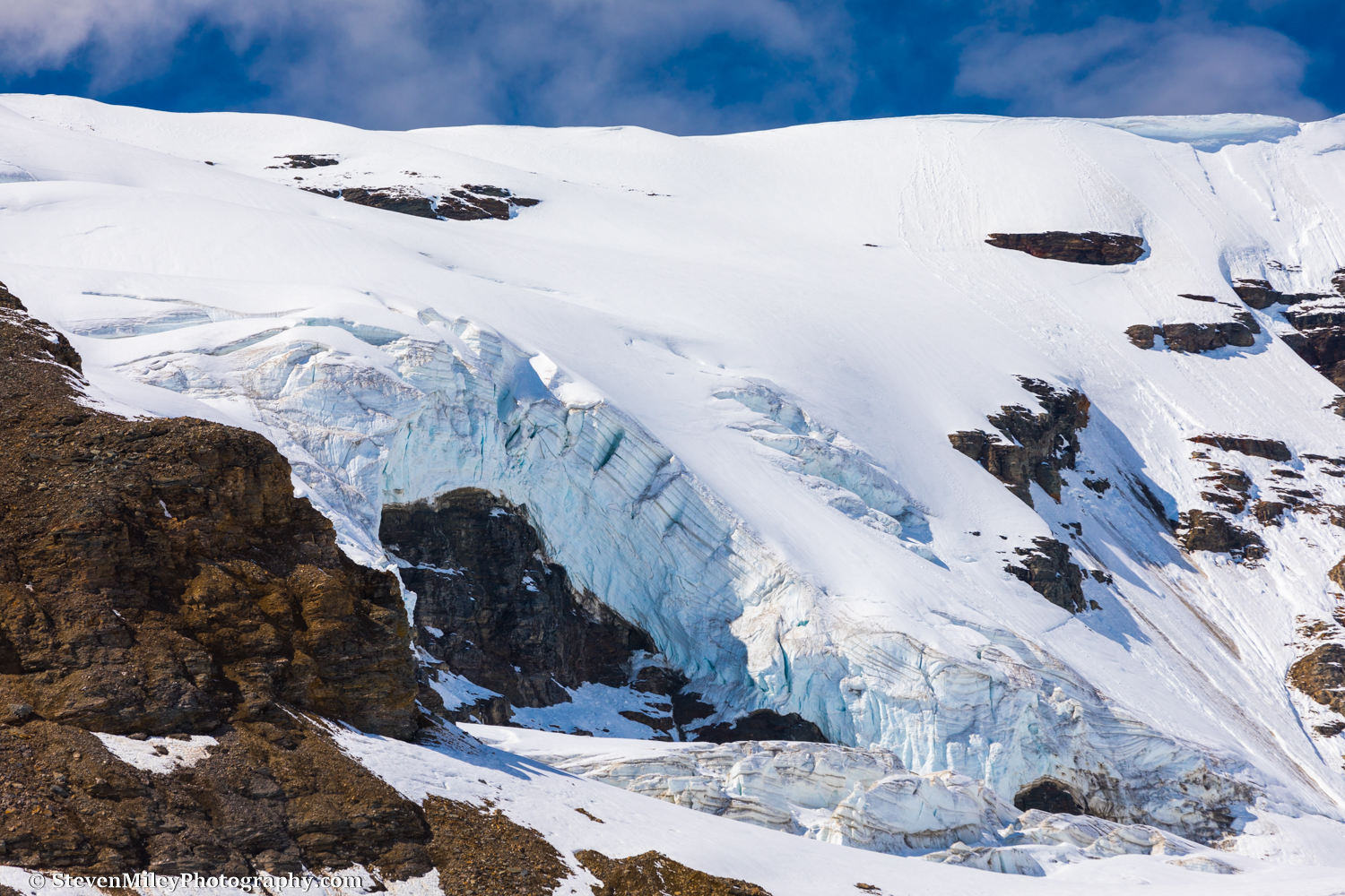 """Rock and ice near """"Item Peak"""" above the north branch of Castner Glacier."""