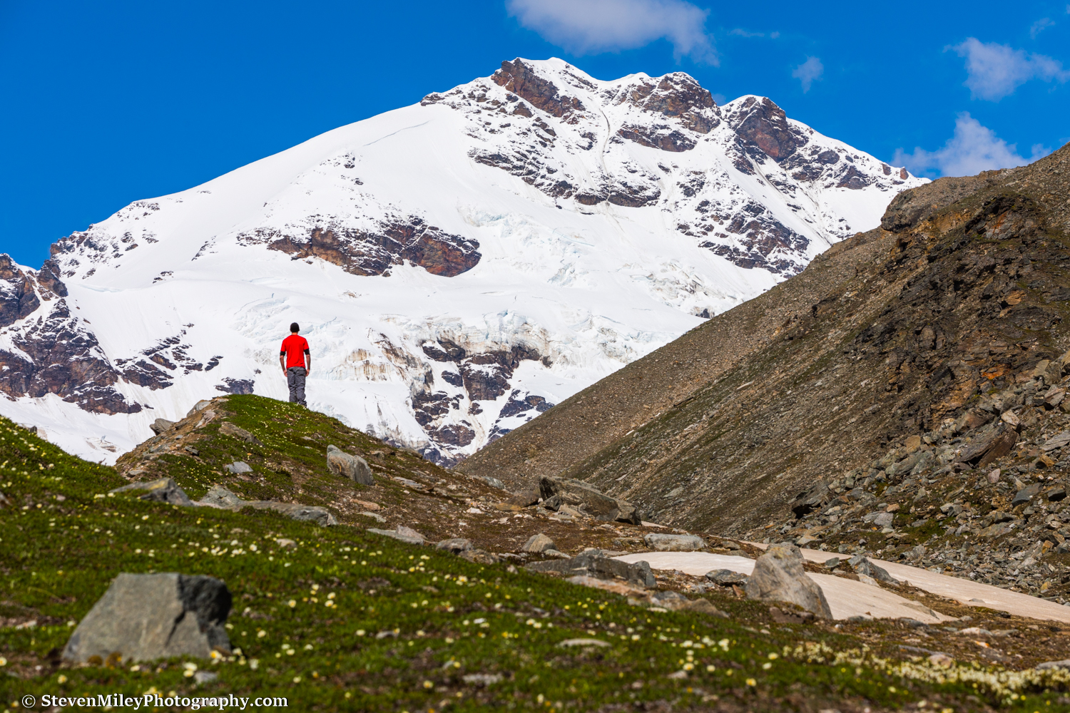 The view of Mt. Silvertip from the alpine meadow where Thayer Hut sits.