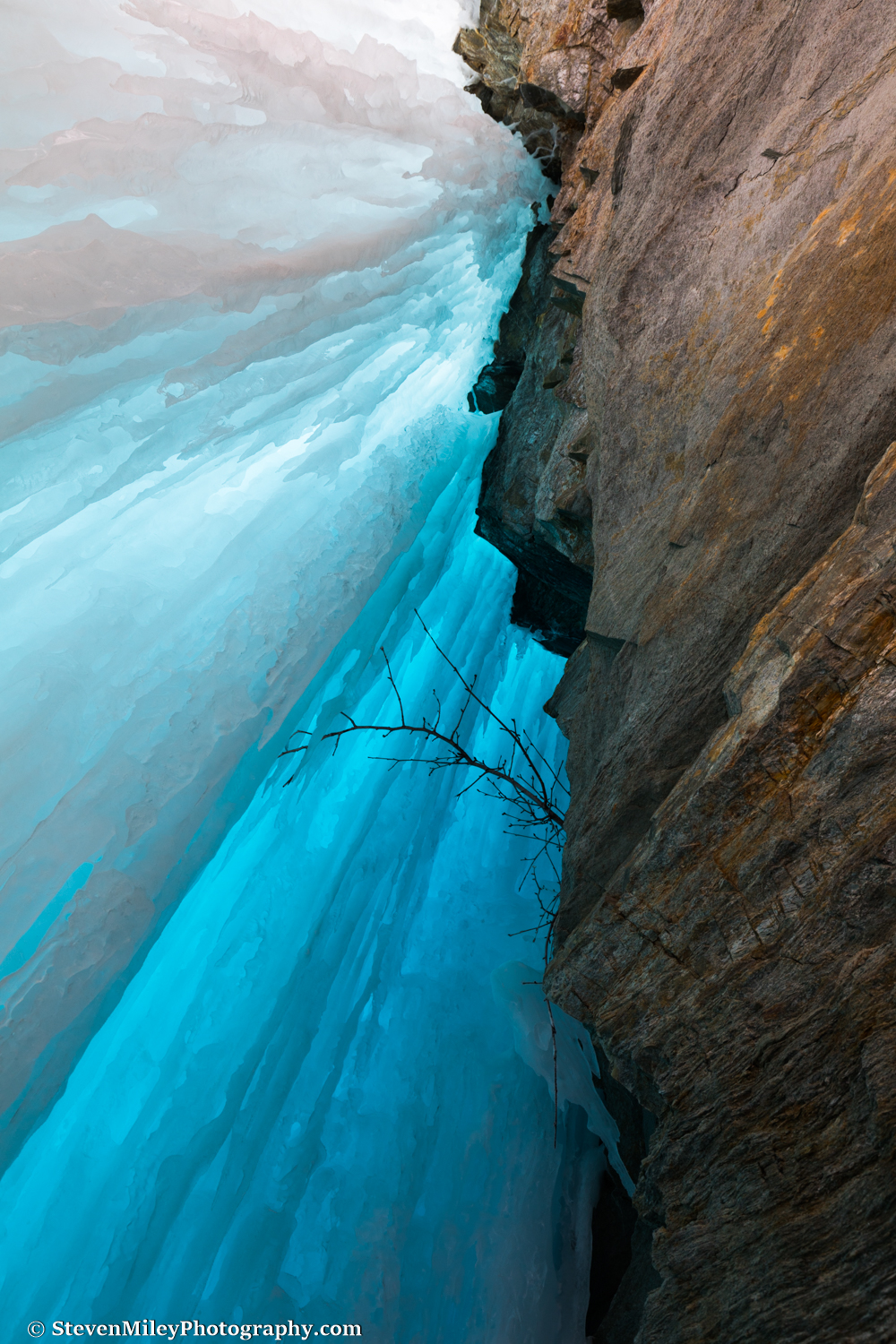The blue ice behind the Onemile Creek waterfall. Bring a wide angle, squat down and look up!