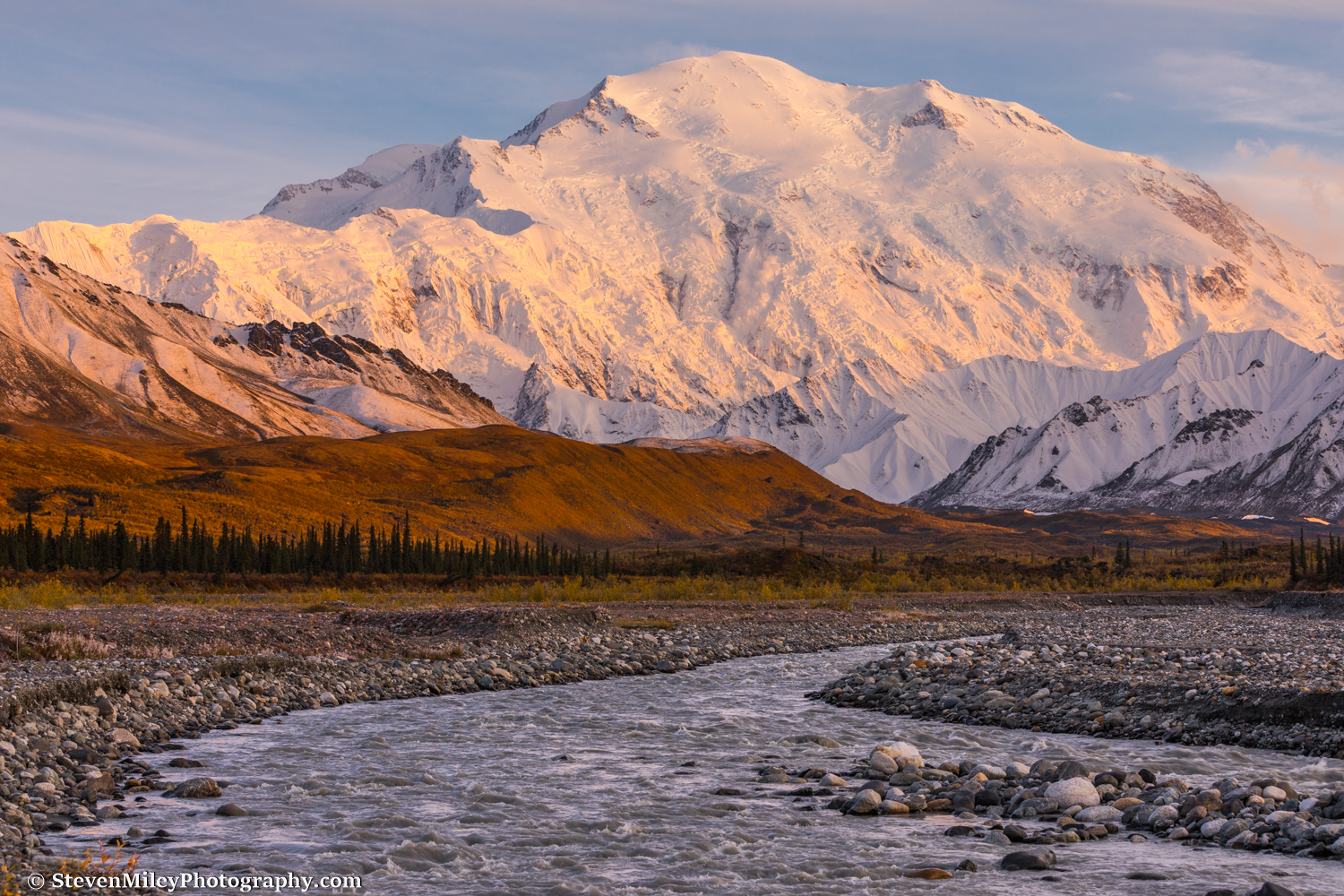 Denali looms over Peters Glacier (coming out of the valley at right) and the Muddy River. An avalanche is visible near the center of Denali's Wickersham Wall.