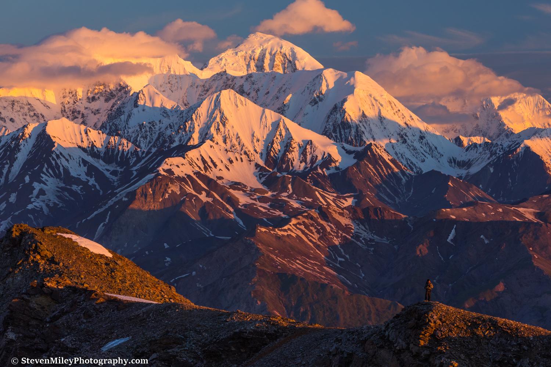 Sunrise on the big mountains of the eastern Alaska Range.