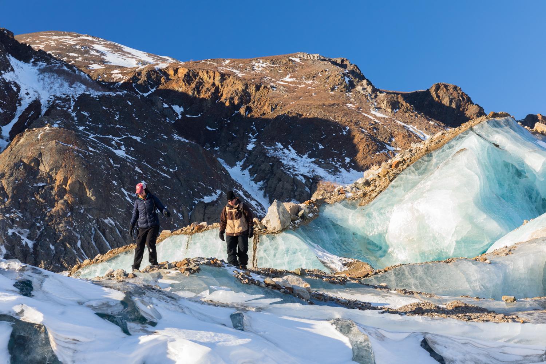 Winter Hiking On Black Rapids Glacier