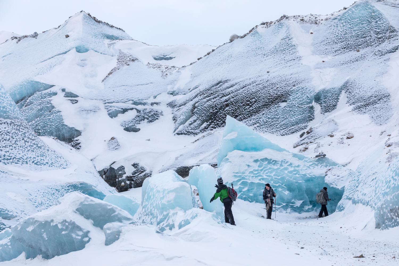 Exploring Black Rapids Glacier In Winter
