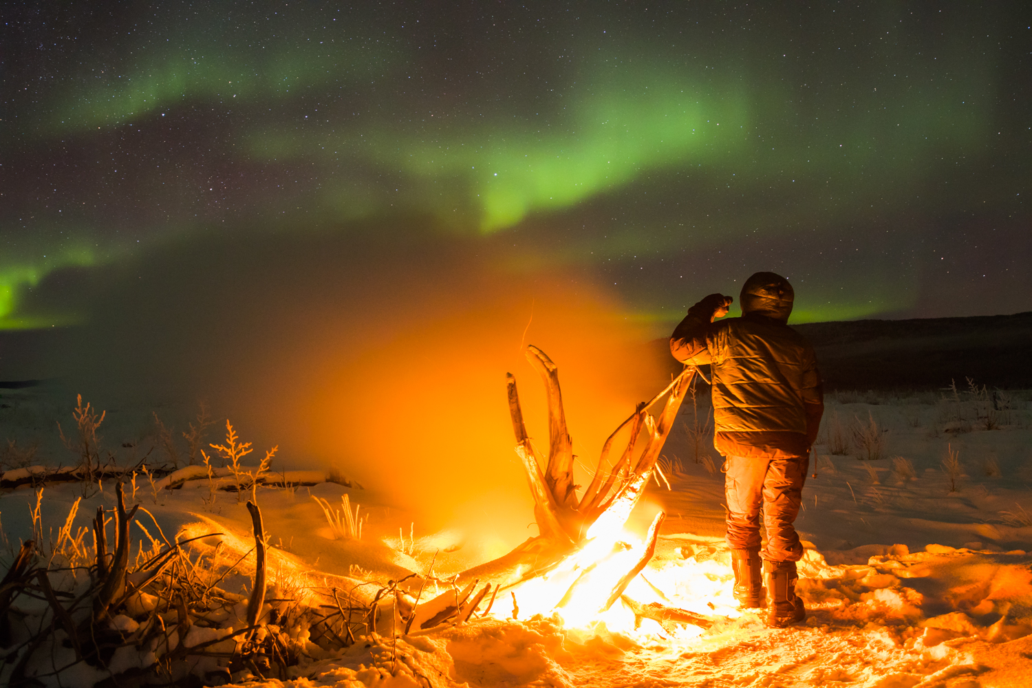 Staying Warm At -26 F - Delta River Driftwood Fire Aurora