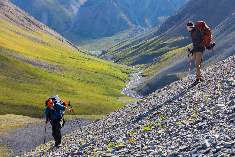 Brothers Climbing Scree Slope - Alaska Range