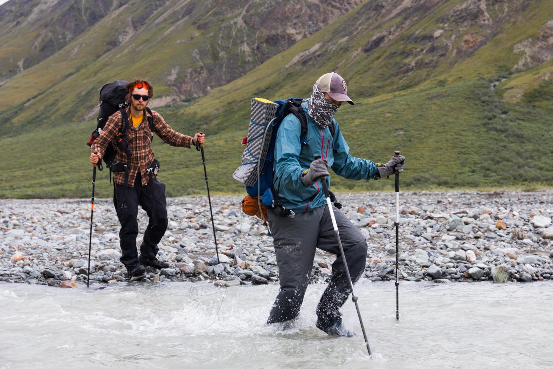 Crossing West Fork Little Delta River - Alaska Range