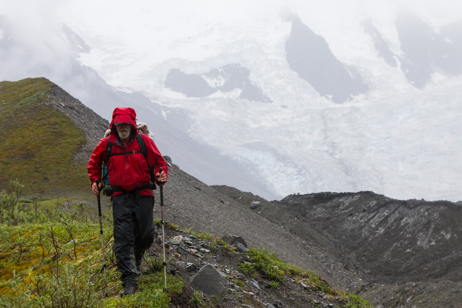 Hiking Beside Trident Glacier With Unnamed Icefall