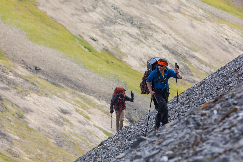 Brothers Climb Steep Scree Slope - Alaska Range