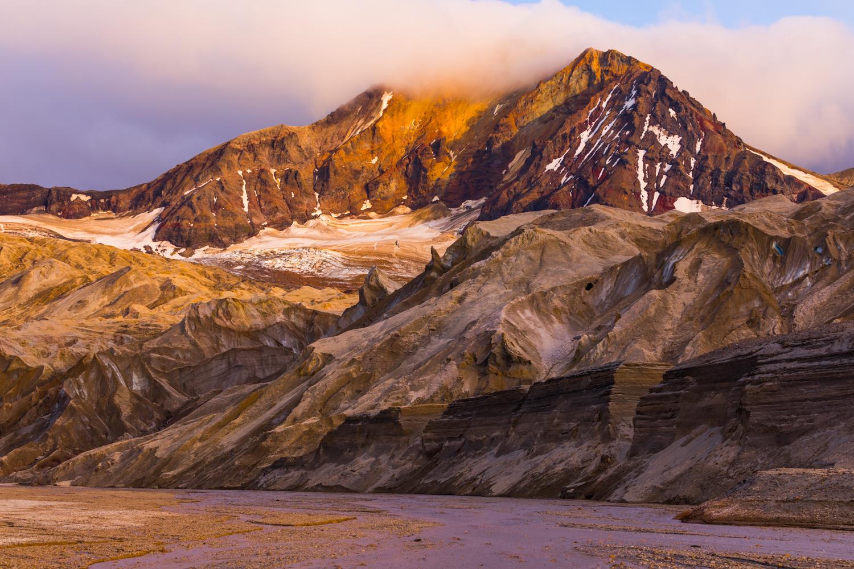 Trident Volcano W/Knife Creek Glaciers at Sunset - Katmai NP