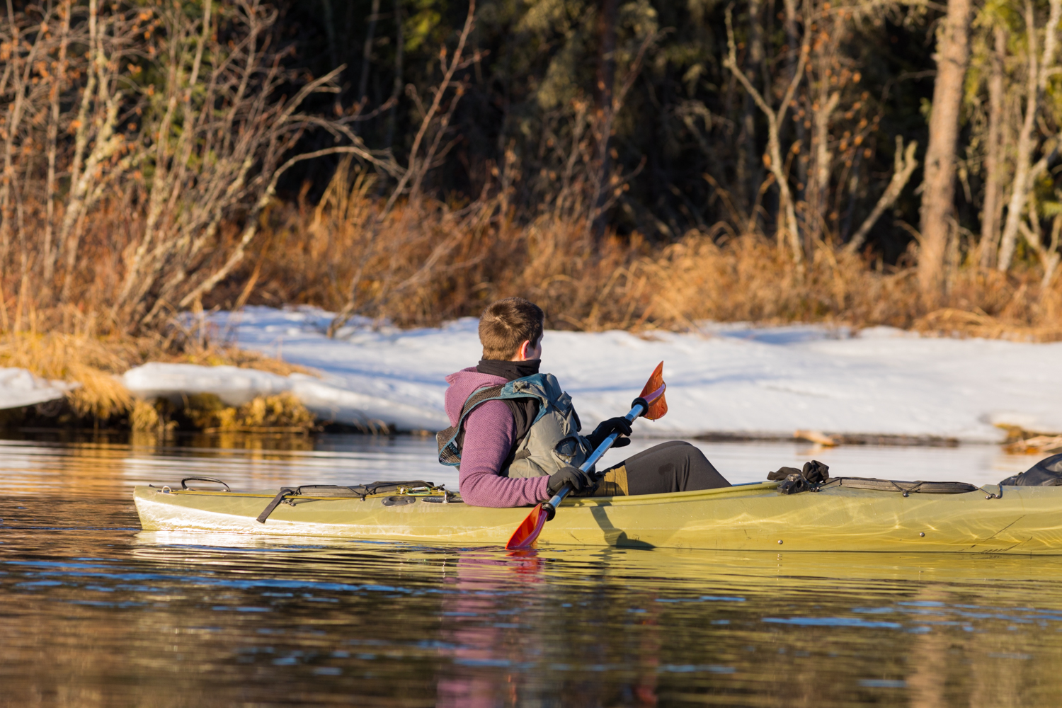 Kayaking Past Snow - Clearwater River
