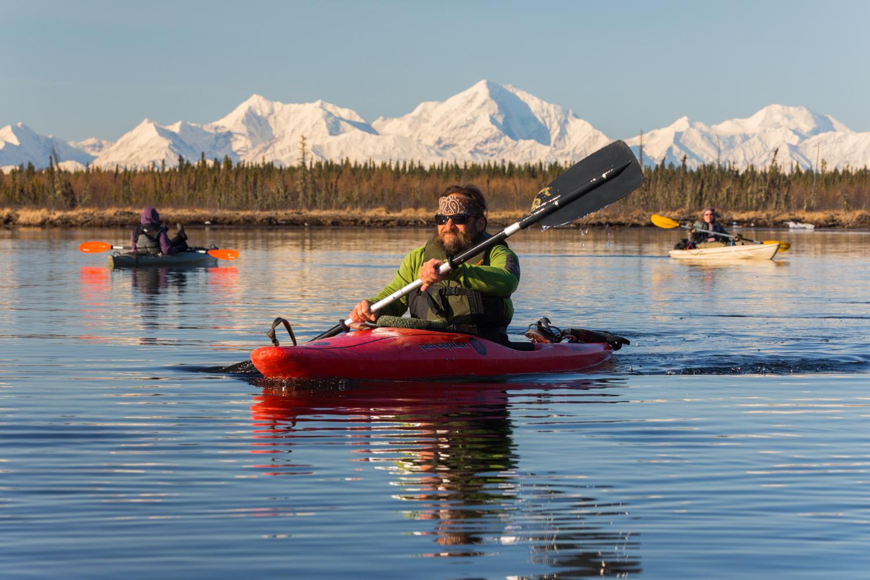 Kayaking Clearwater River With Alaska Range 2