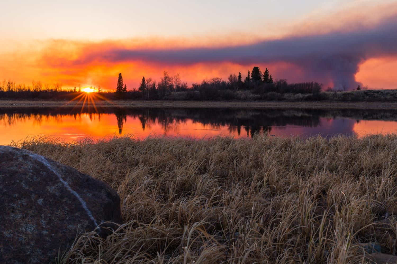 Wildfire Sunset Reflection
