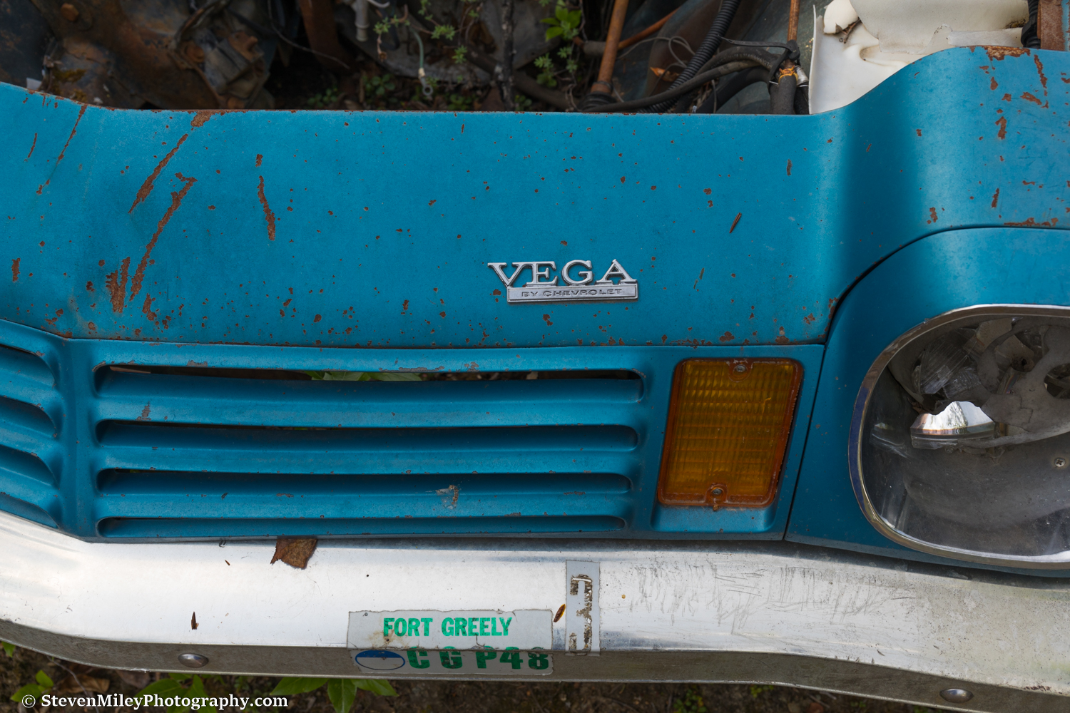 This Chevrolet Vega still features a Fort Greely decal. The Vega was last produced in 1977.