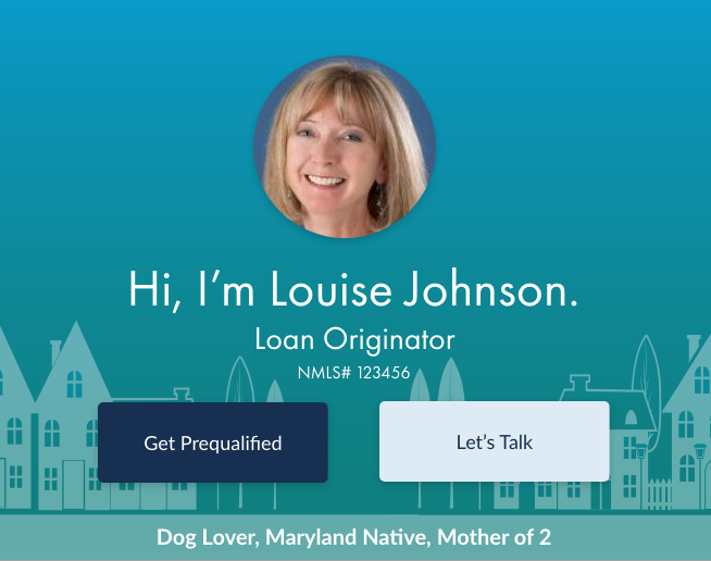 "Part of the header showing personal tagline of ""Dog lover, Maryland Native, Mother of 2"""