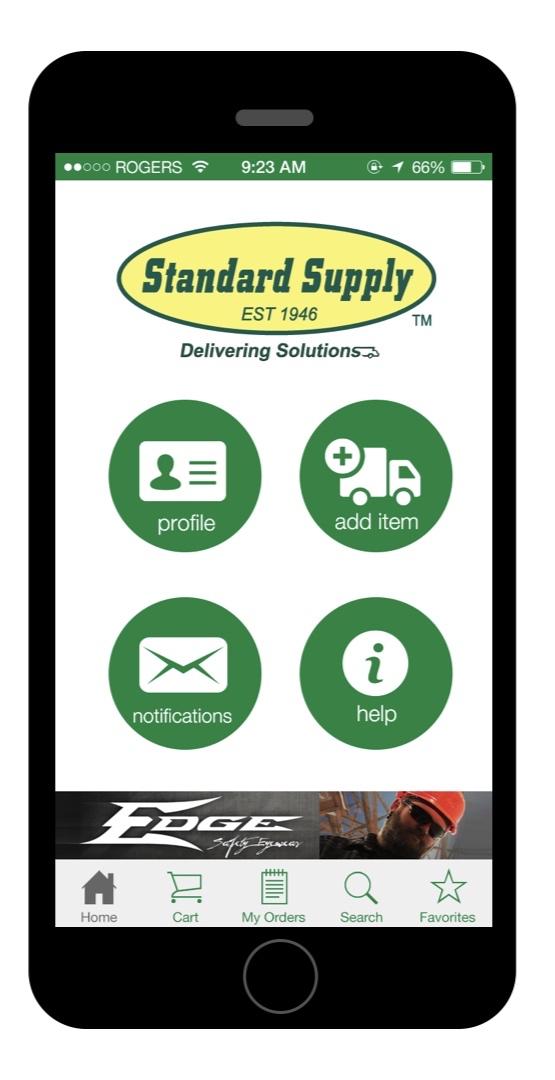 Main menu screen showing vendor sponsored ad