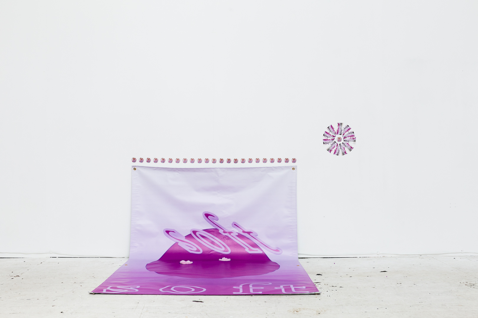 Soft , (2018), vinyl banner, synthetic fur, installation view,  Number One Assistant,  Kyra's, Sydney. Photo: Document Photography