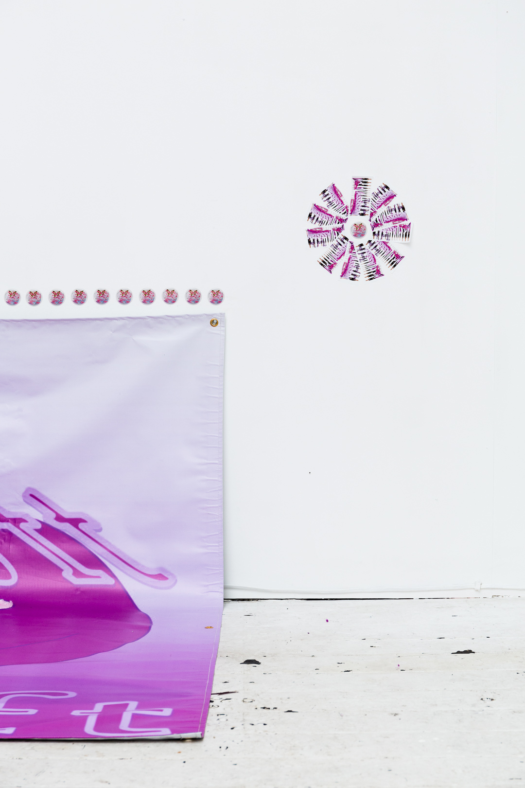 (detail)  Soft , (2018), vinyl banner, synthetic fur;  Number One Assistant,  (2018), stickers, installation view,  Number One Assistant,  Kyra's, Sydney. Photo: Document Photography