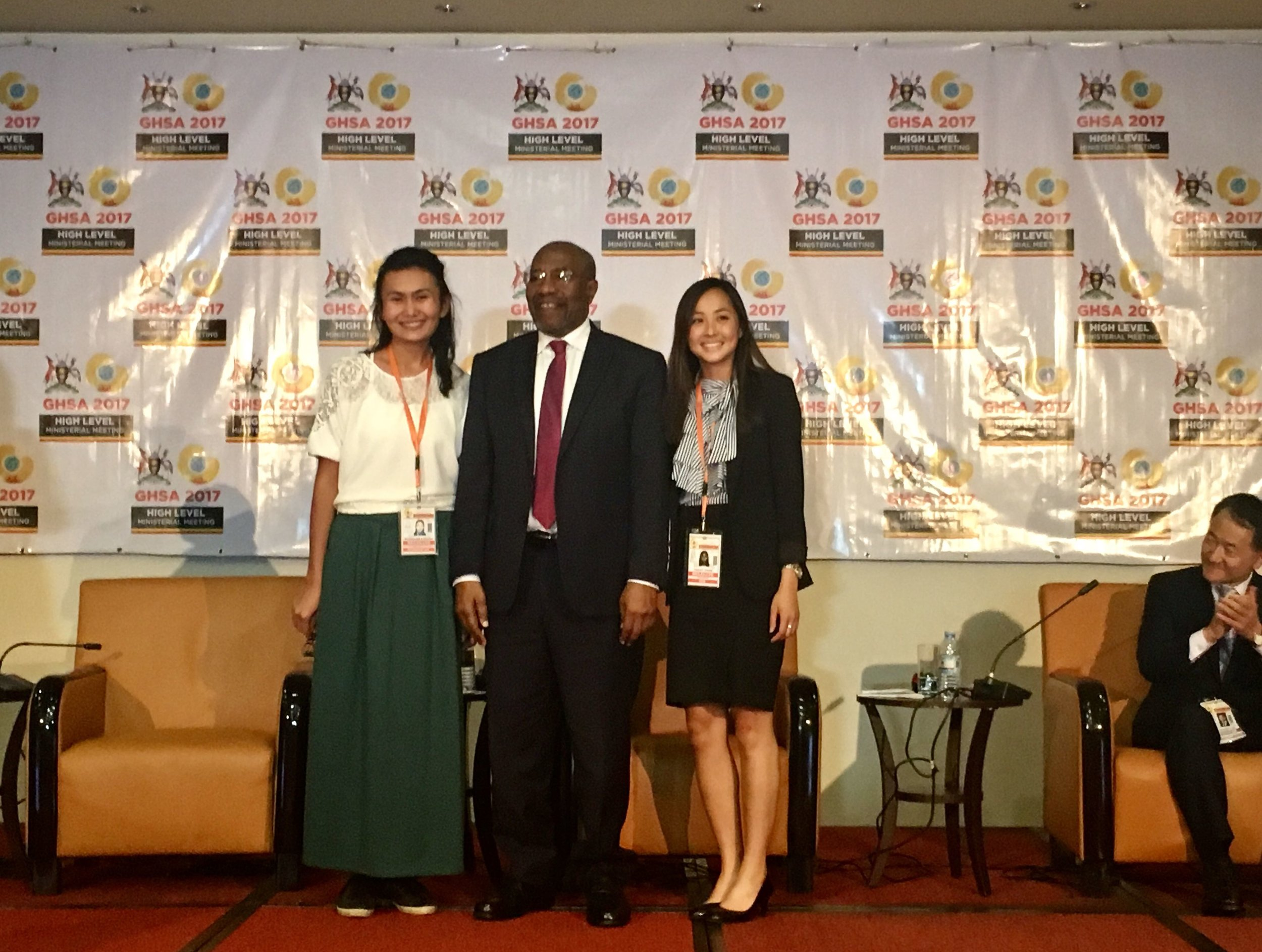 From left to right: Lyazzat Musralina (Institute of General Genetics and Cytology, Kazakhstan), Hon. Ruhakana Rugunda (Prime Minister, Uganda), Ashley Tseng (McGill University, Canada), and Hon. Park Neunghoo (Minister of Health & Welfare, Republic of Korea). The Prime Minister of Uganda had just announced Ashley and Lyazzat as the winners of Nuclear Threat Initiative's Next Generation for Biosecurity in GHSA Competition.