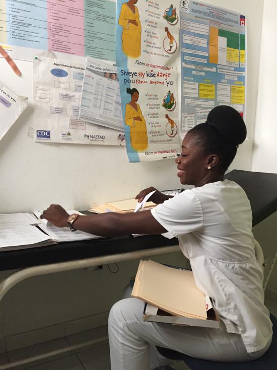 Miss Jacquecilien, nurse and study coordinator, prepare the participants' study files.