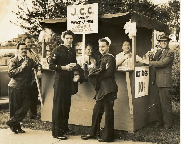 Veterans at a hot dog stand, late 1940s