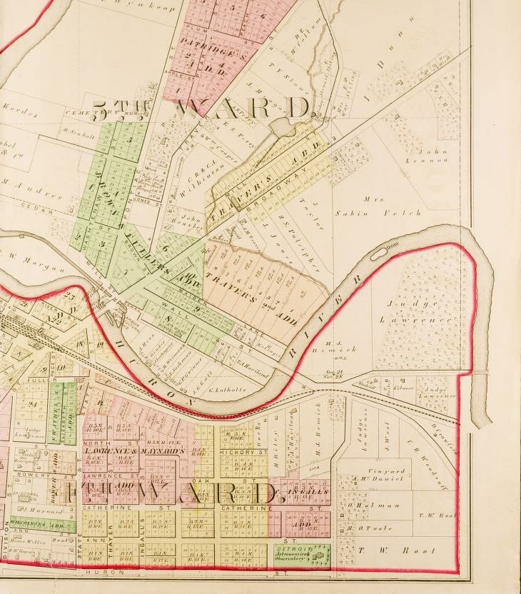1874 real-estate map of Lower Town district