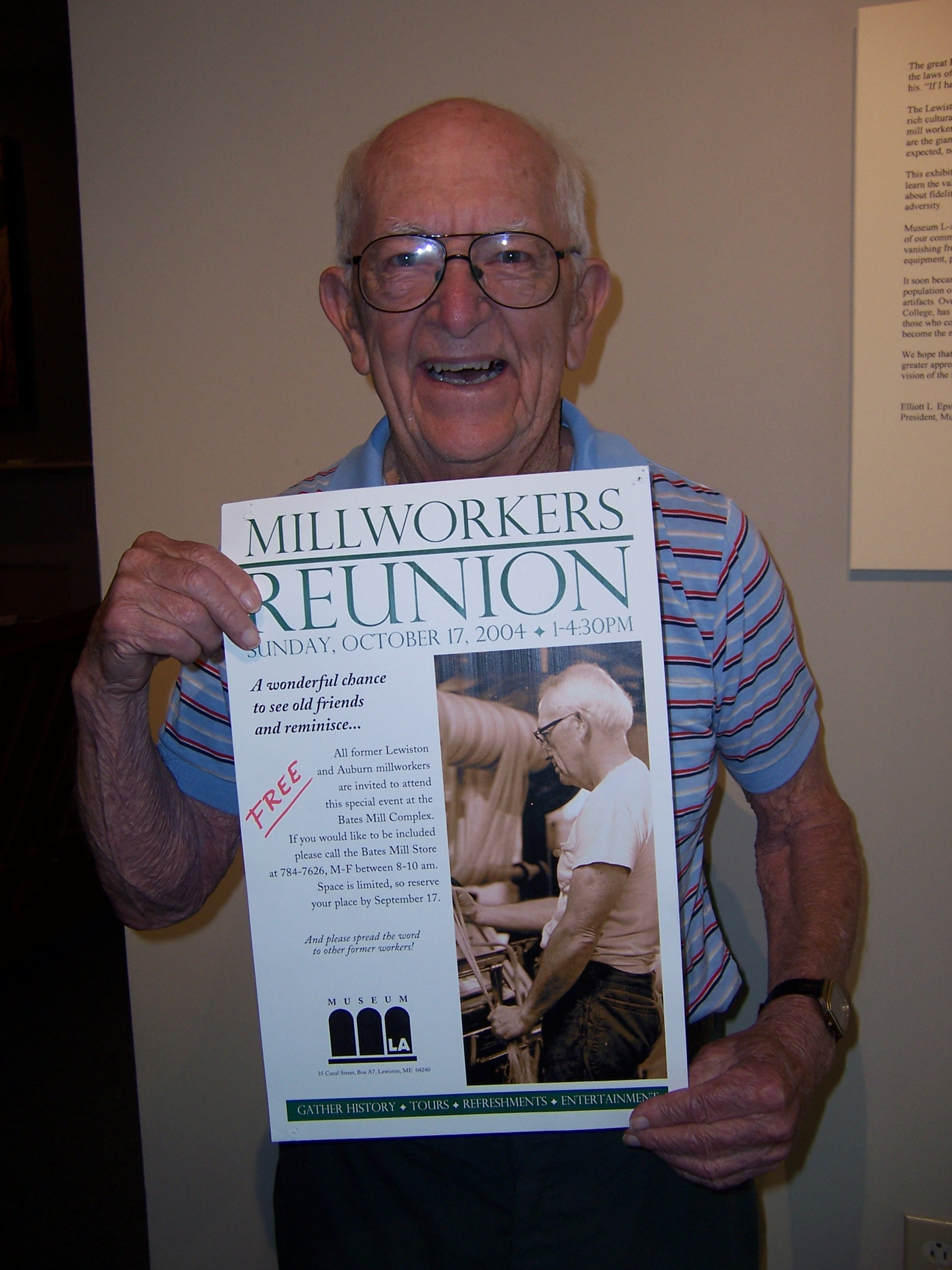 Elder with Millworkers Reunion poster of himself.jpg