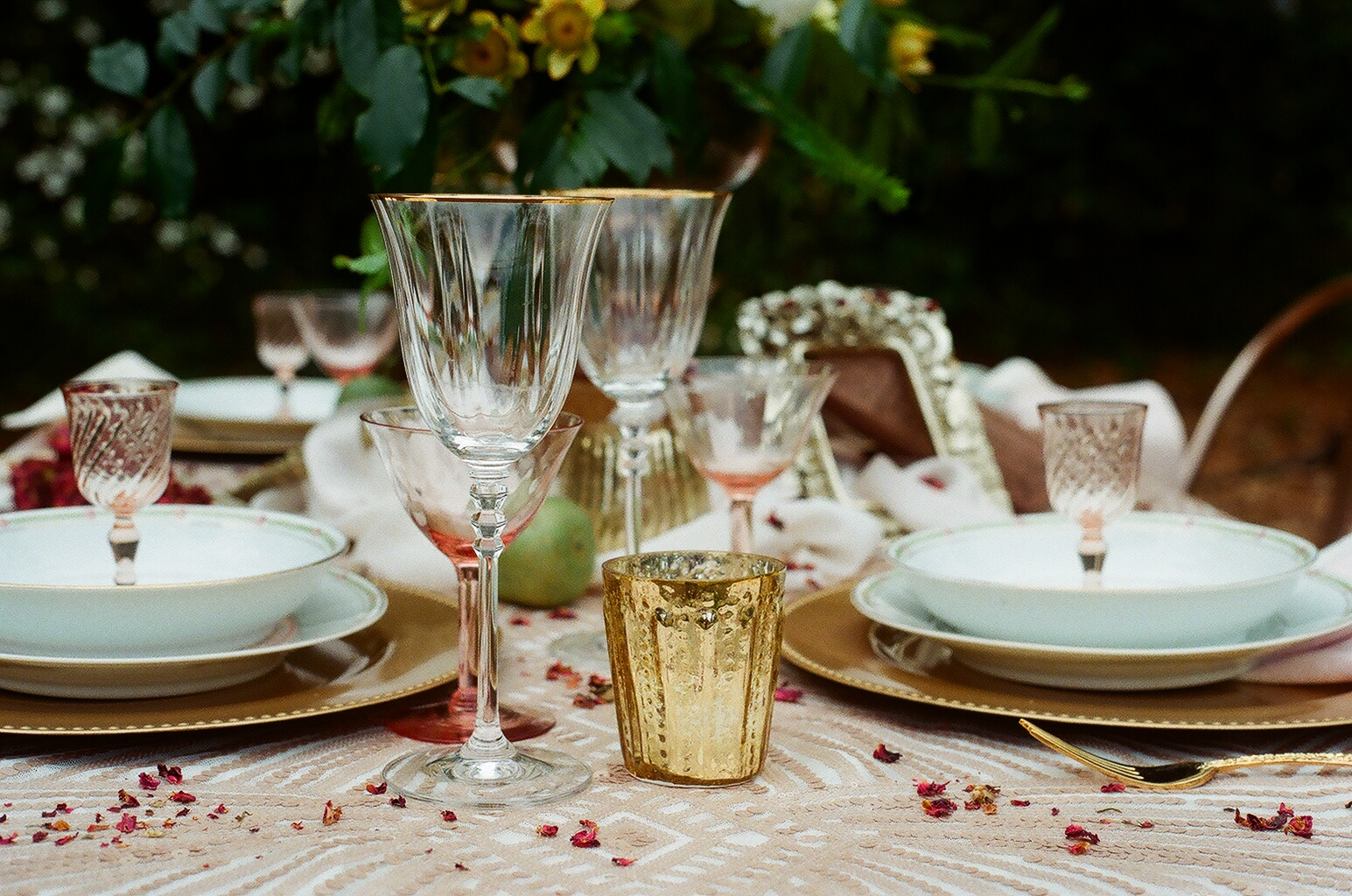 Almost all of the china, glassware, and flatware from this shoot is in my Etsy shop!