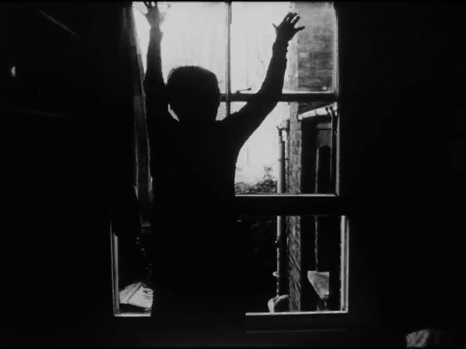 Defenestration      Bea Haut    2015 |5 minutes |UK |16mm |b&w |sound  Combining film and domestic structures, this film reaches beyond the frame, testing out access and escape, aperture and portal. -BH