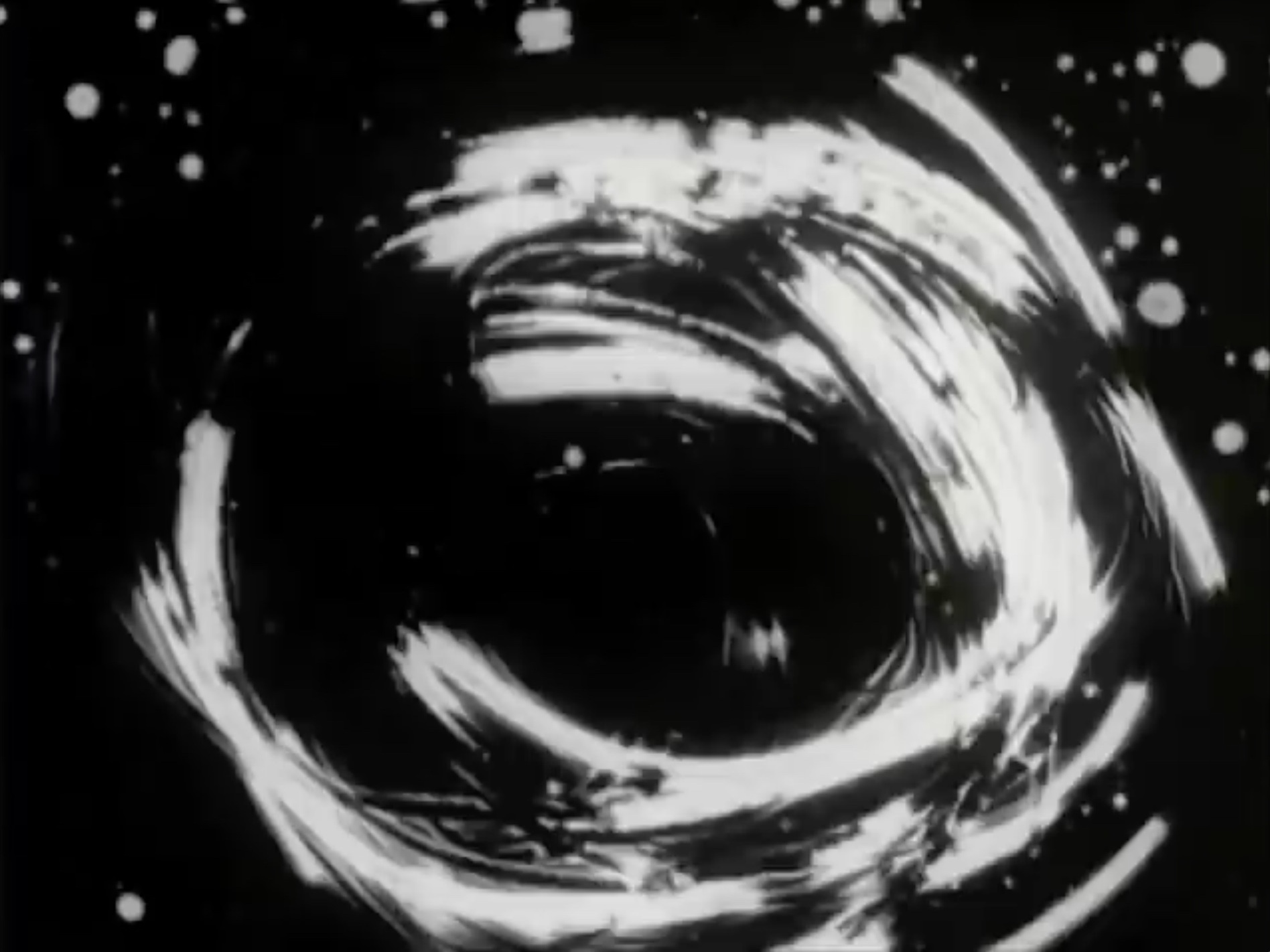 Black Out     Aldo Tambellini     1965 | 9 minutes | USA | 16mm | b&w | sound  This film, like an action painting by Franz Kline, is a rising crescendo of abstract images. Rapid cuts of white forms on a black background supplemented by an equally abstract soundtrack give the impression of a bombardment in celestial space or on a battlefield where cannons fire on an unseen enemy into the night. -Grove Press Film Catalog