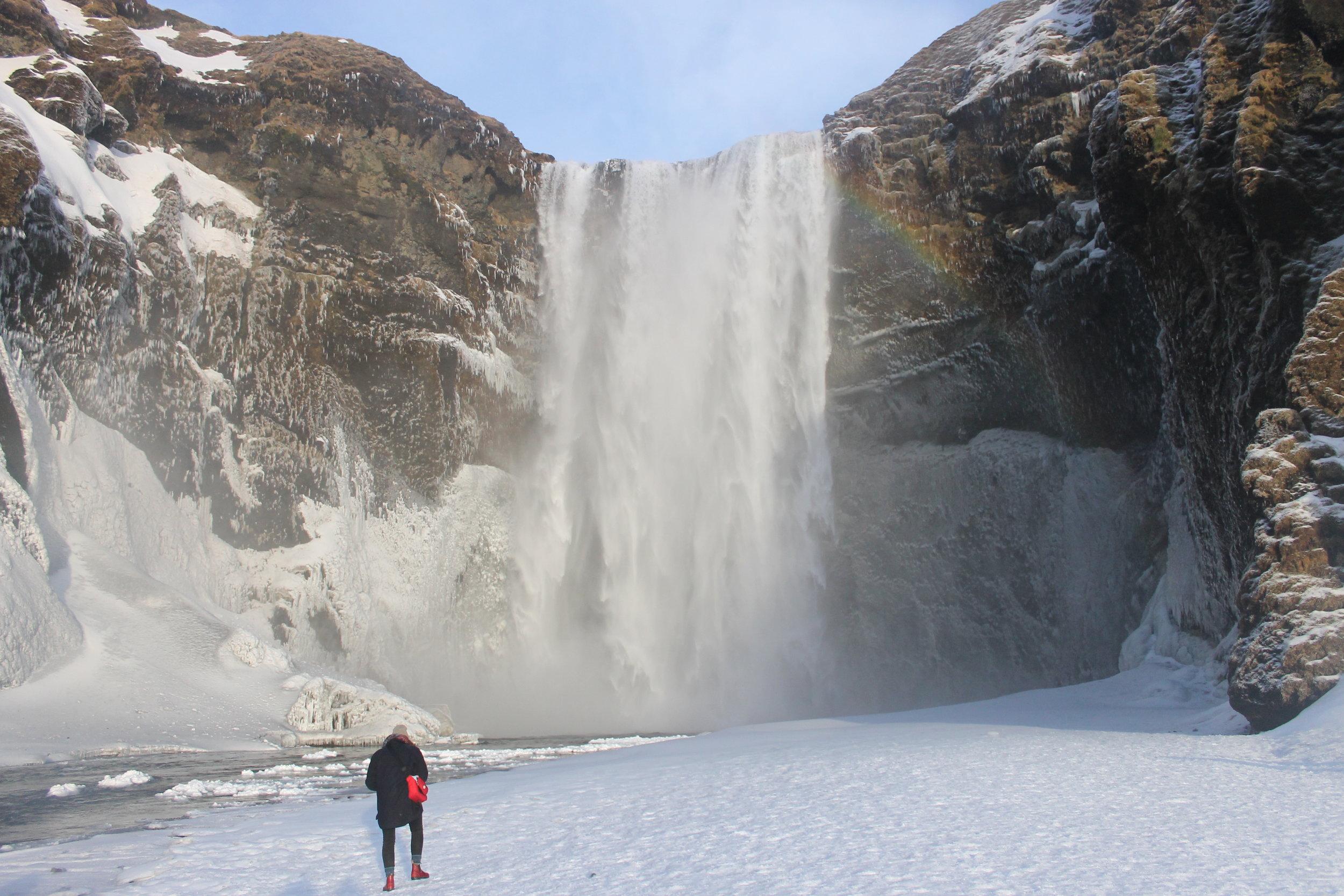 Emma at Seljalandsfoss Waterfall.