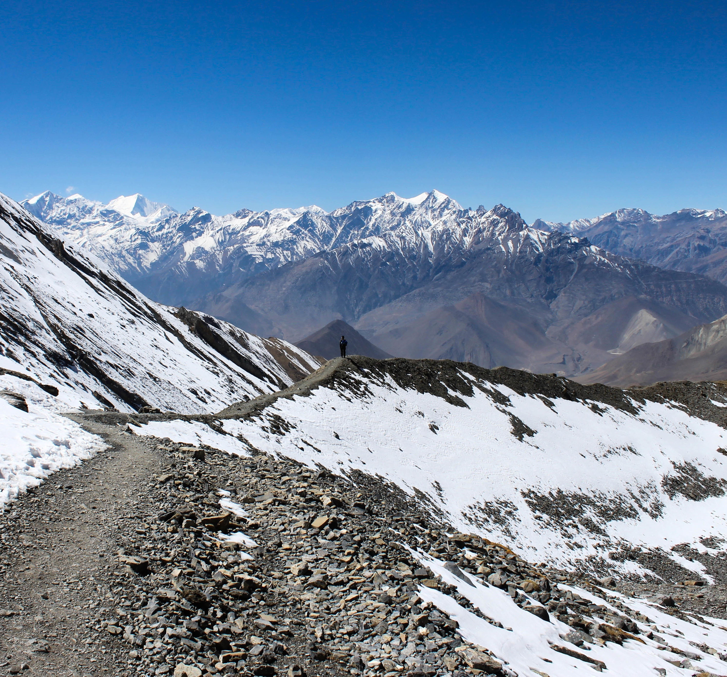 Myself enjoying the view after a long day of crossing Thorong La pass (5,400 meters).