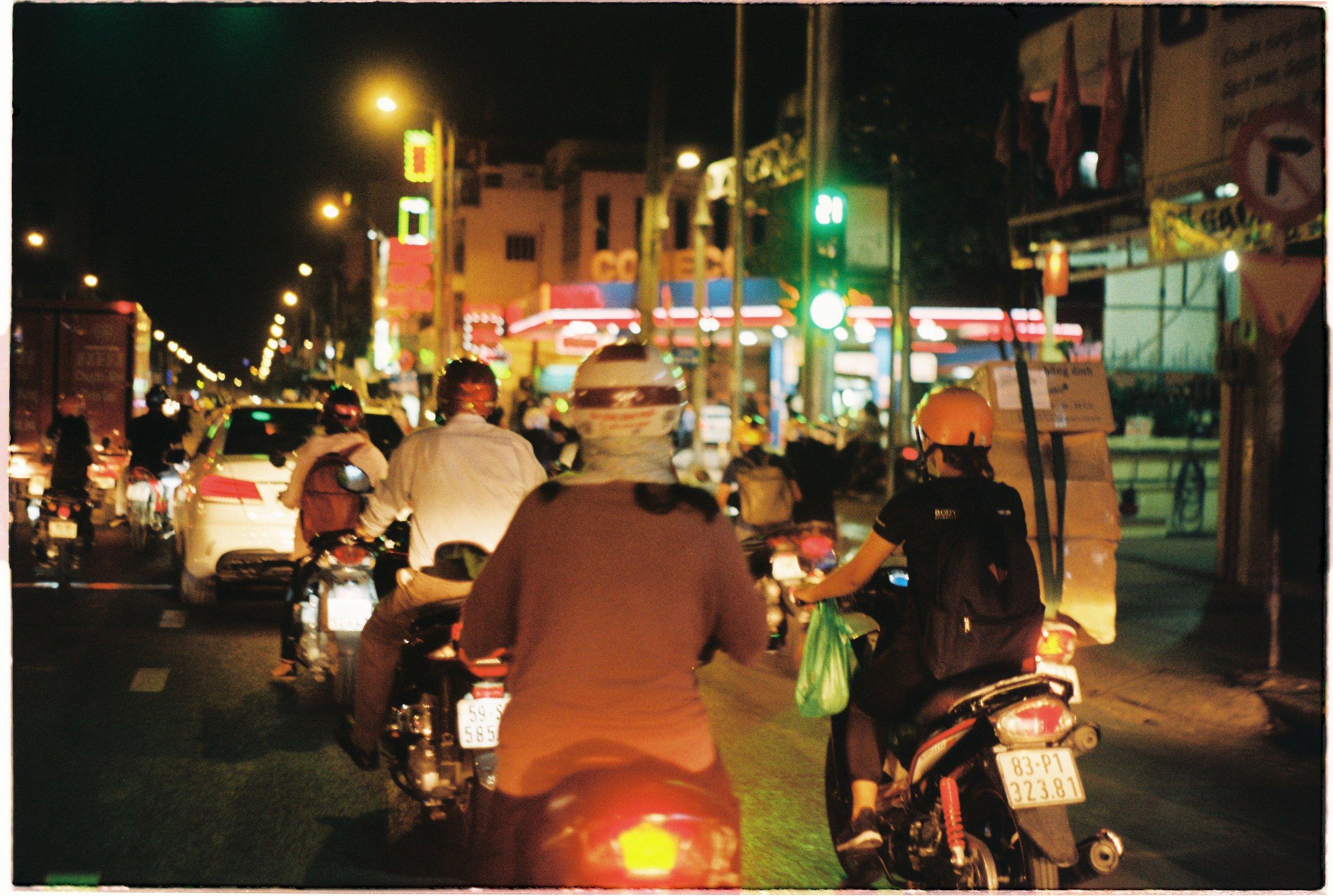 Night time traffic in Saigon.