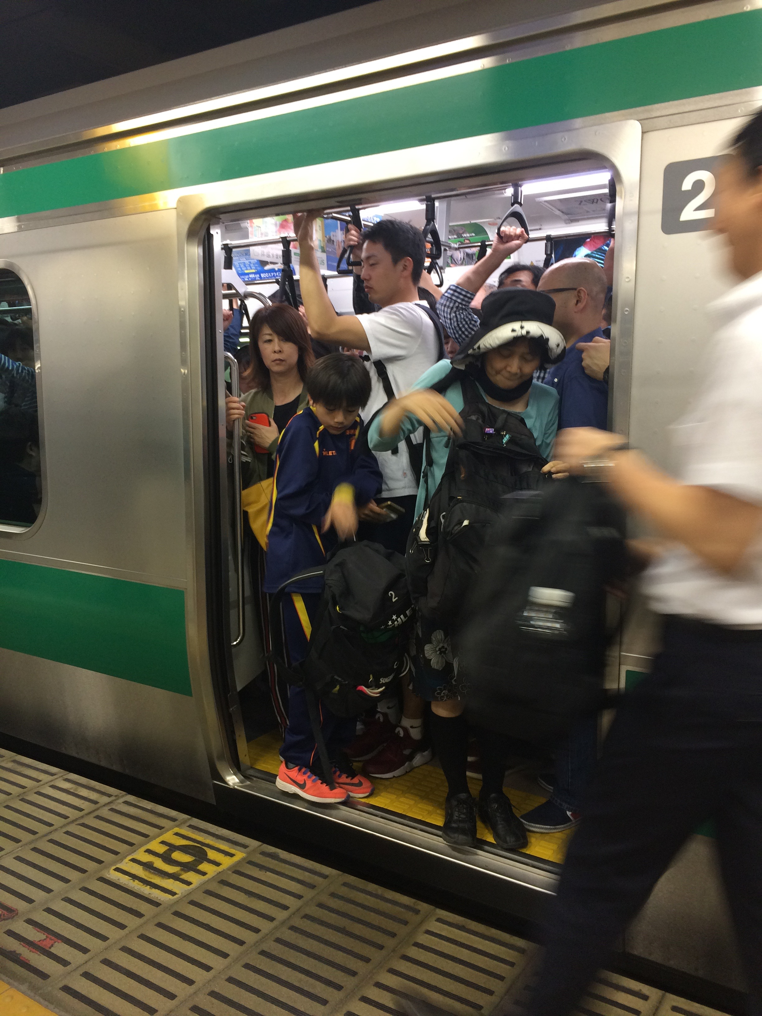 A crowded train in Tokyo.