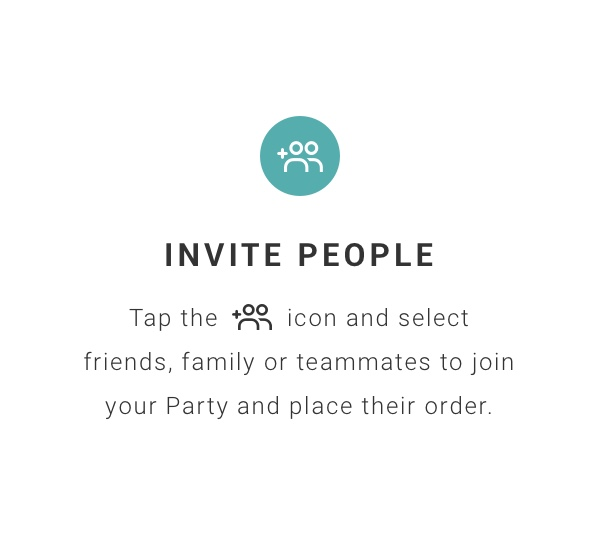 invite people friends family teammates order together group ordering party lunch coffee runs