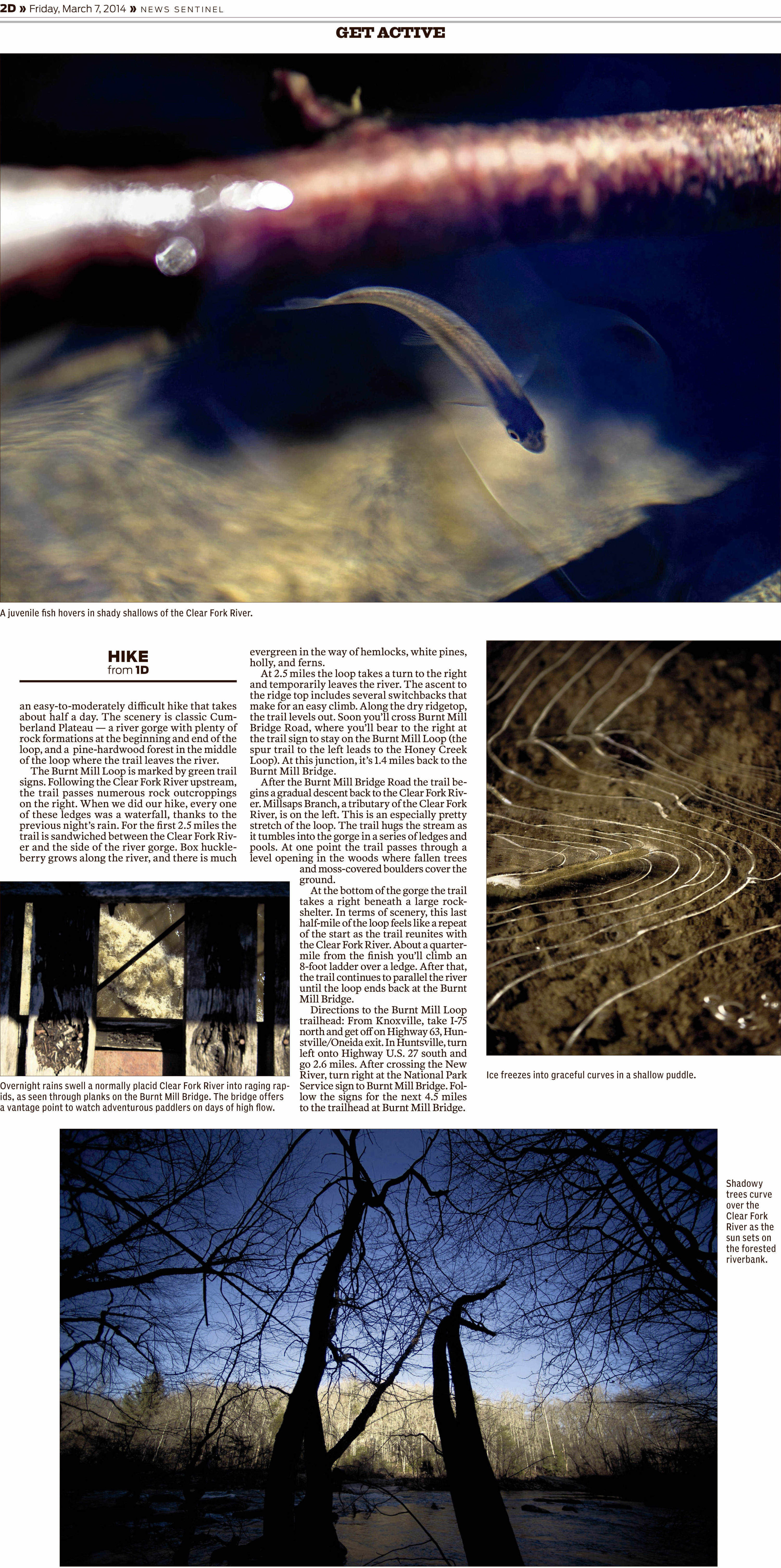"Knoxville News Sentinel ""Hike of the Month"" photos by Adam Lau, design by Don Wood."
