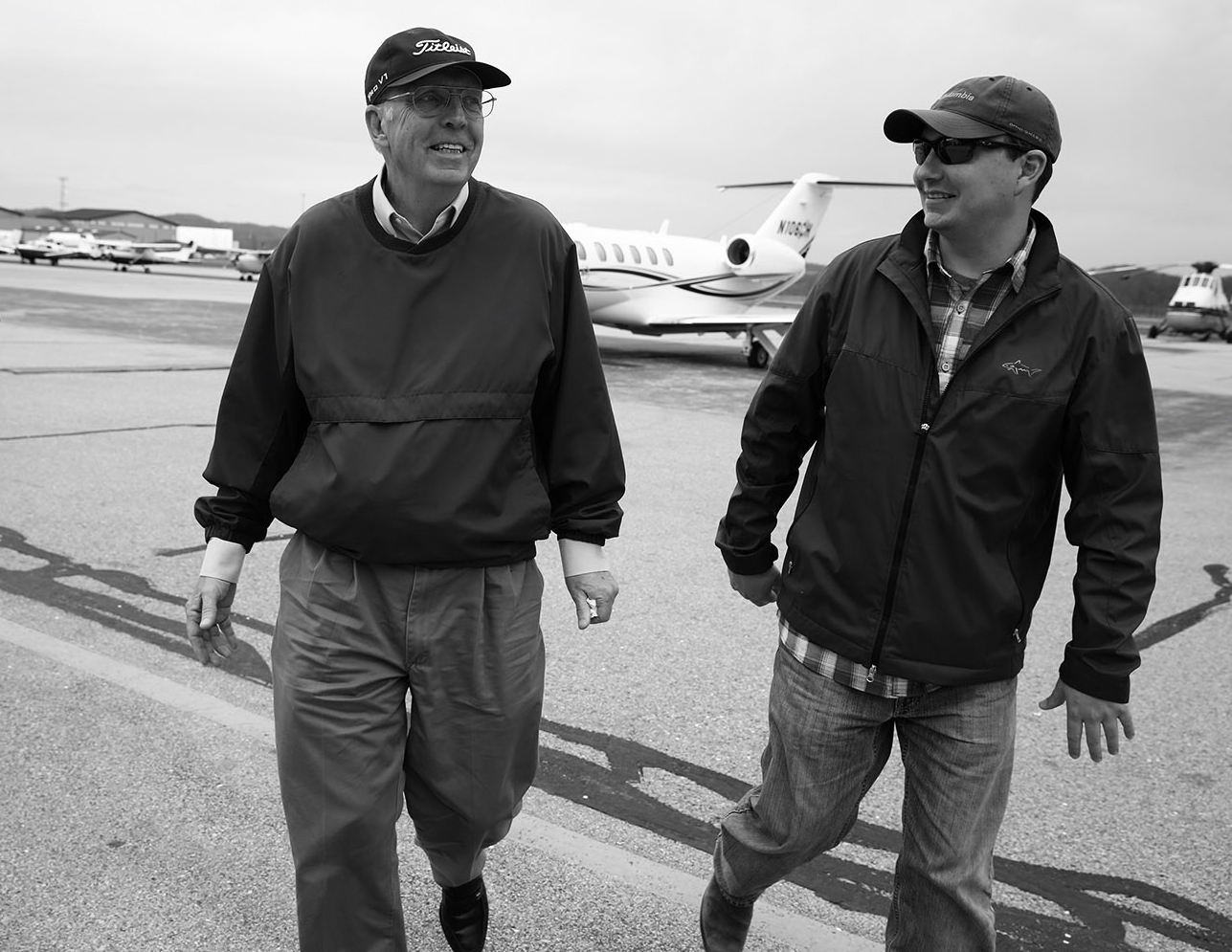 "Martin leaves the jet with his son, Paul Martin, in Charleston. Co-pilot Stewardson on flying with Martin:  "" Never being satisfied with your performance and constantly scrutinizing the decisions made in the cockpit after a flight will be something I will carry with me throughout my career. Not only will this hold true in an aircraft, but I believe this attitude carries over into my personal life as well."""
